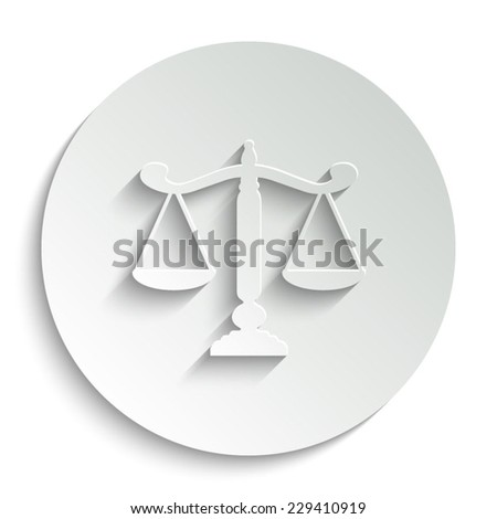 Scale vector icon with shadow on a round button