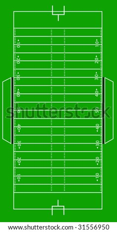 Scale Vector Illustration of an American football field.