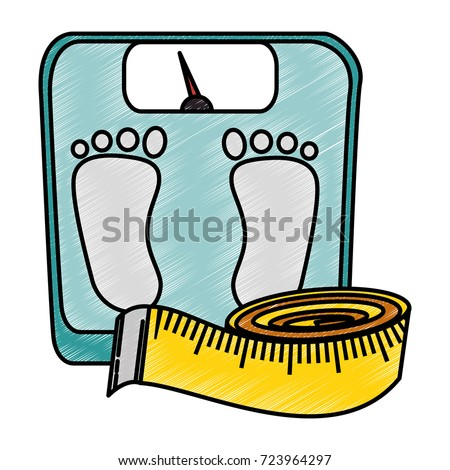 scale weight with tape measure icon