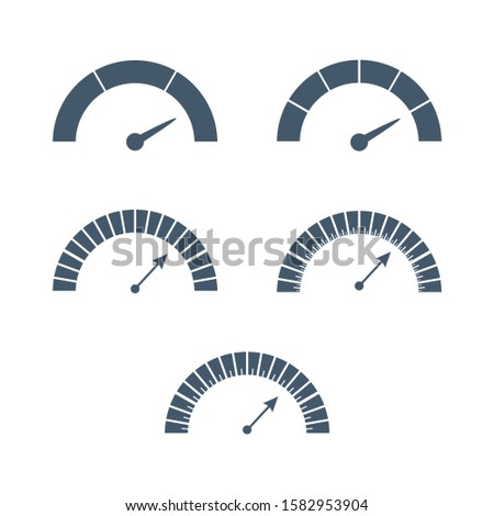 Scale with arrow from red to green. The measuring device icons set. Sign tachometer, speedometer, indicators. Vector illustration in flat style. Infographic gauge elements