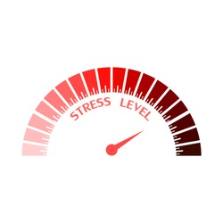 Scale with arrow. Stress level measuring device icon. Sign tachometer, speedometer, indicators. Infographic gauge element.