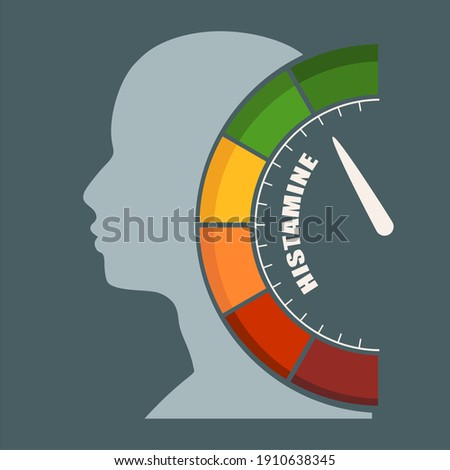 Scale with arrow. The histamine measuring device. Sign tachometer, speedometer, indicator. Head of man silhouette. Zdjęcia stock ©