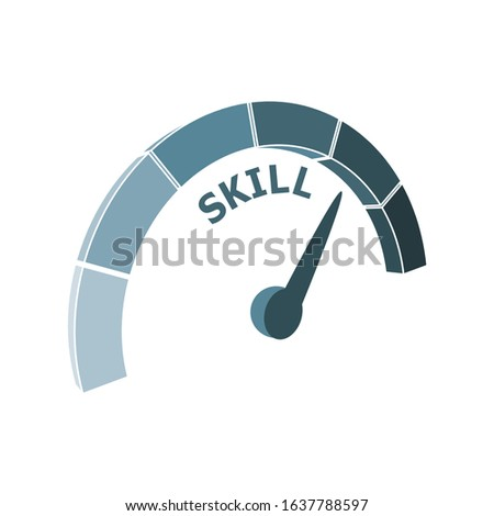 Scale with arrow. The skill level measuring device icon. Sign tachometer, speedometer, indicators. Infographic gauge element.