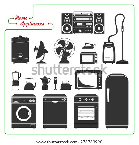 Scaled monochromatic home appliances vector illustration. Retro style