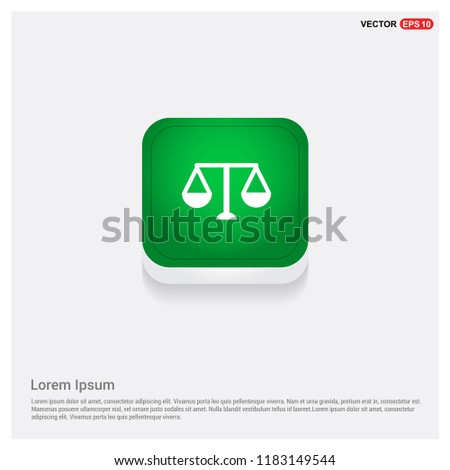 Scales balance sign IconGreen Web Button - Free vector icon