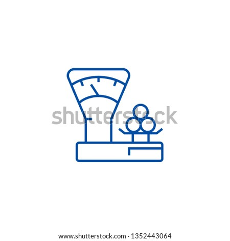 Scales counter,shop line icon concept. Scales counter,shop flat  vector symbol, sign, outline illustration.