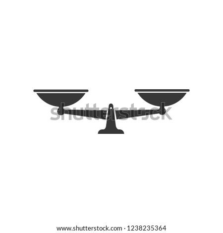 Scales icon. Vector black scale single symbol