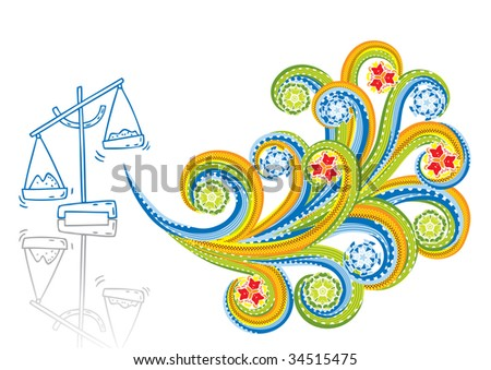 Scales in abstract collage. Format A4. Vector illustration. Isolated groups and layers. Global colors.