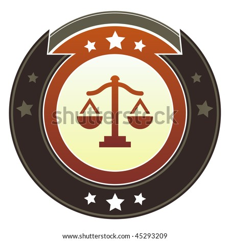 Scales, justice, balance, or equality icon on round red and brown imperial vector button with star accents