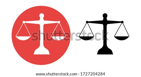 Scales Justice icon. Trendy flat style for graphic design, web-site. Stock Vector illustration. Stockfoto ©