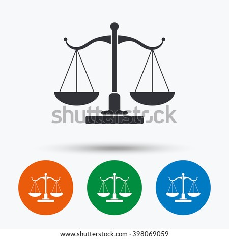 Scales of justice icon. Court of law symbol. Flat signs in circles. Round buttons for web. Vector