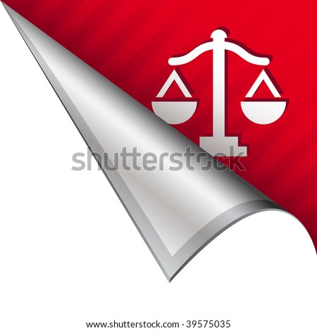 Scales of justice icon on vector peeled corner tab suitable for use in print, on websites, or in advertising materials.