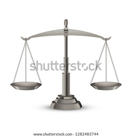Scales of justice on plain background, vector illustration