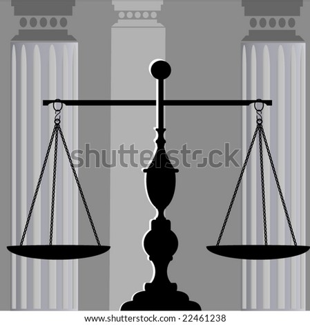 scales of justice with columns behind