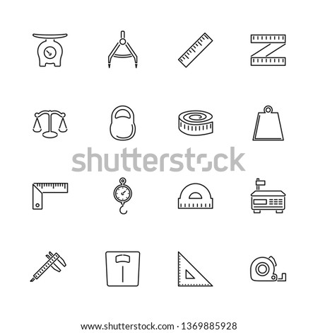 Scales Rulers, Measuring outline icons set - Black symbol on white background. Scales Rulers, Measuring Simple Illustration Symbol - lined simplicity Sign. Flat Vector thin line Icon - editable stroke