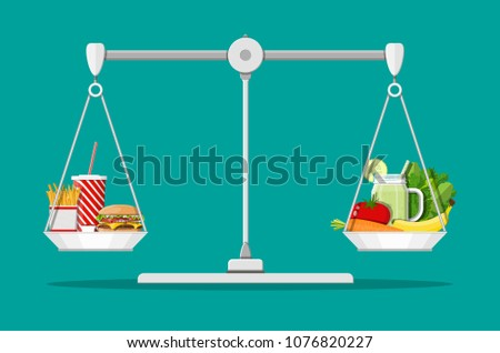 Scales with fast food and organic products. Diet, nutrition, fitness and weight loss or overweight fat. Greasy cholesterol vs. vitamins from fruits vegetables. Food choice. Flat vector illustration