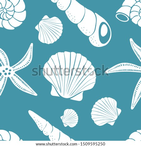 Scallop shells, cone shells, snail shells, starfish, white on blue background. Vector seamless pattern.