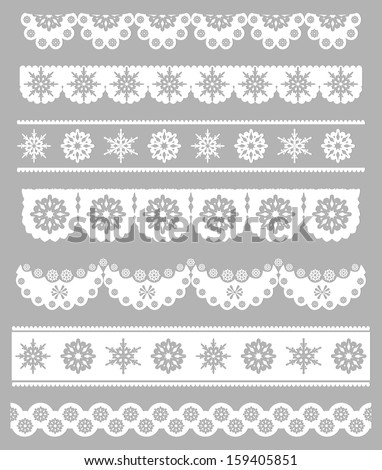 Scalloped Christmas Digital Seamless Borders with Snowflakes