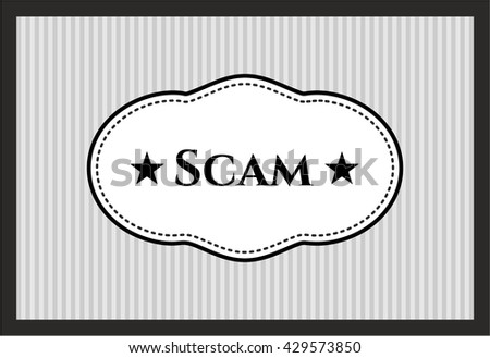 Scam card, poster or banner