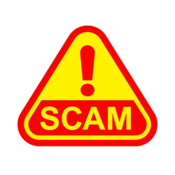 scam triangle sign label red yellow isolated on white, scam warning sign graphic for spam email message and error virus, scam alert icon triangle for hacking crime technology symbol concept, vector