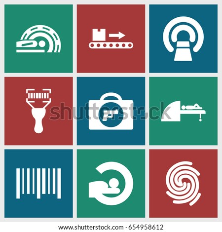 Scan icons set. set of 9 scan filled icons such as briefcase with weapon, mri, bar code, bar code scanner, luggage scan