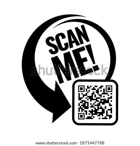 Scan me icon. Symbol or emblem. vector illustration Stok fotoğraf ©