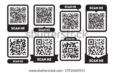 Scan me template set with QR codes. Qrcode icon for mobile app Stok fotoğraf ©