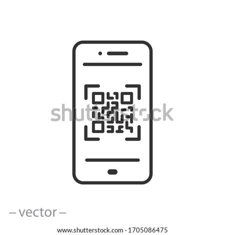 scan qr code icon, barcode scanner, phone app, thin line web symbol on white background - editable stroke vector illustration eps10