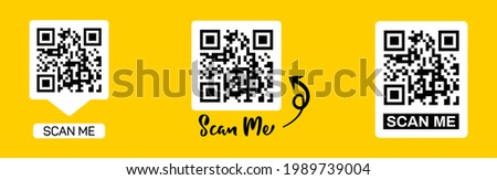 Scan qr code icon. Quick response code or QR code set for smartphone. QR code for mobile app, payment and website. Scan me phone tag.