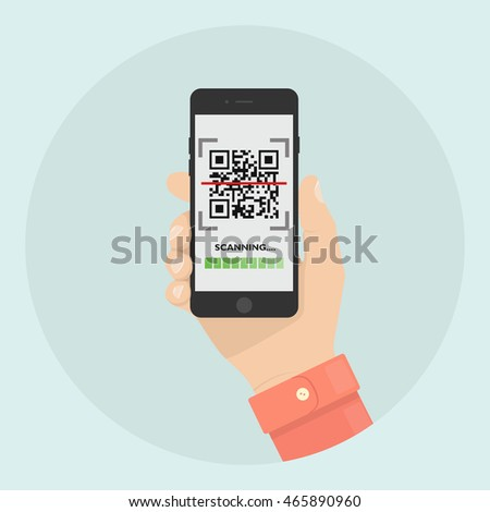 Scan QR code with Mobile phone. Scanning barcode with telephone. Hand holds cellphone, smartphone. Vector icon. Flat style