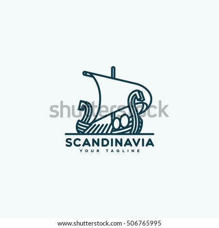 Scandinavia logo template design in outline style. Vector illustration.