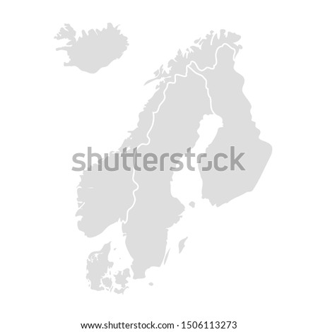 Scandinavia vector map sweden norway denmark finland. Stock photo ©