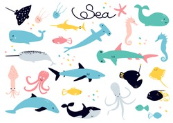 Scandinavian cartoon collection of  drawings on the theme of sea animals  - stingray; jellyfish; fish; fish sword; narwal; squid; calamary; dolphin; octopus; hammerhead shark; shark; whale; starfish.
