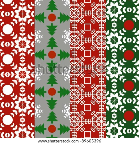Scandinavian Christmas Pattern Set Stock Vector 89605396 ...