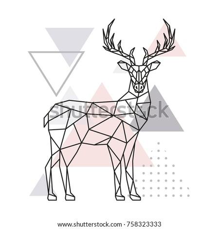 Scandinavian deer, side view. Geometric vector illustration.