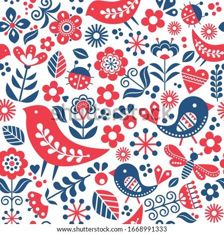 scandinavian folk art vector