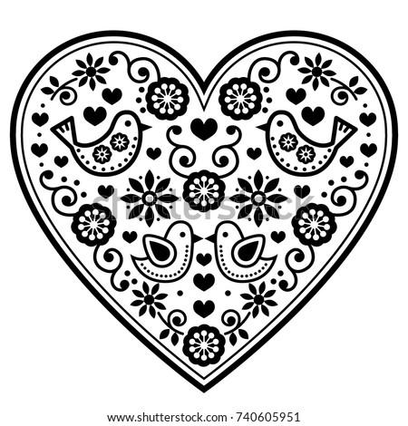 scandinavian folk heart vector