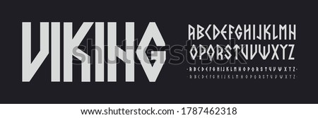 Scandinavian font, Nordic runes style Letters. Viking ethnic letters. Thin, regular and bold font set, vector modern typography design