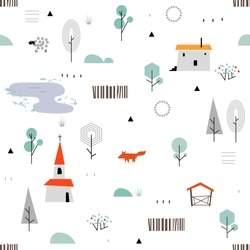 Scandinavian geometric seamless pattern.  Simple flat sheep, fox, house, trees, church, lake and landscape elements. Map texture. Minimalist european houses.