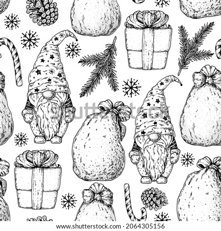 Scandinavian gnome and Christmas gifts sketch illustration. Seamless pattern. Vintage background. Engraved style. Hand drawn vector illustration. Christmas design.