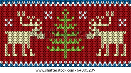 Scandinavian ornament for knitting with reindeer and Christmas tree.