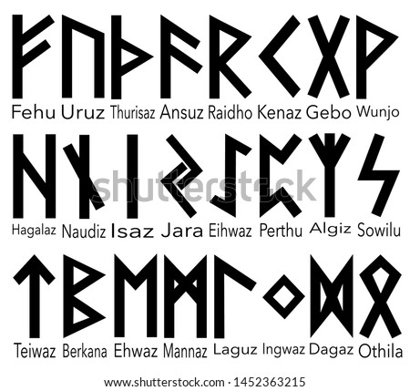 Scandinavian runes black letters on white background lettering name.Set of old Norse runes. Runic alphabet, Futhark. Ancient occult Viking characters letters on white background, rune font.