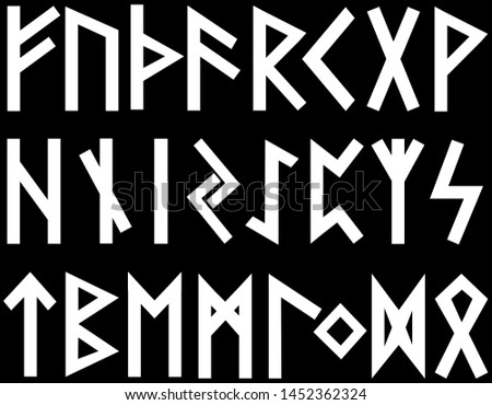 Scandinavian runes white letters on black background.Set of old Norse runes. Runic alphabet, Futhark. Ancient occult Viking characters letters on white background, rune font.