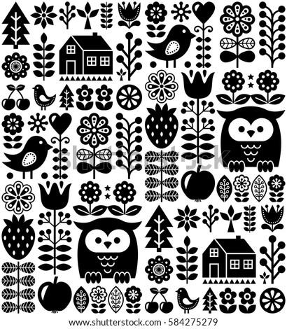 Scandinavian seamless folk pattern - black Finnish folk art, Nordic style   Stock photo ©