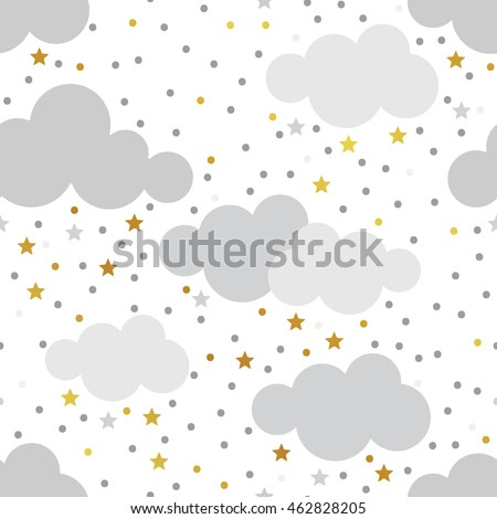 Scandinavian seamless pattern set. Gold monochrome seamless patterns. Kids background. Vector seamless baby pattern. Perfect for kids bed linen, baby cotton, kids wallpaper.