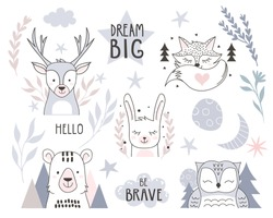 Scandinavian style design element for nursery. Forest animals collection with lettering element. Vector illustration.