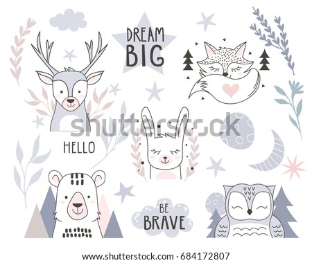 Stock Photo Scandinavian style design element for nursery. Forest animals collection with lettering element. Vector illustration.