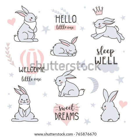 Scandinavian style design elements for nursery. Forest rabbits collection with lettering element. Vector illustration.