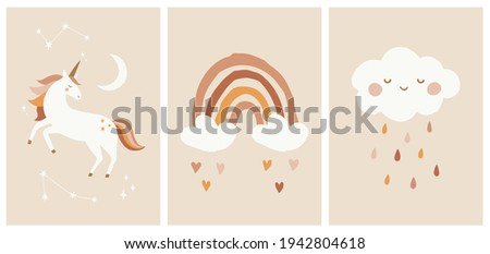Scandinavian Style Kids Room Decoration. Cute Hand Drawn Unicorn, Rainbow and Cloud. Nursery Wall Art for Baby Boy And Baby Girl. Vector Illustration Set Ideal for Cards, Invitations, Posters.