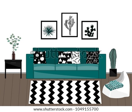 Scandinavian style livingroom interior with black and white carpet, blue sofa with ornamented pillows, home plants, and white wall with pictures.
